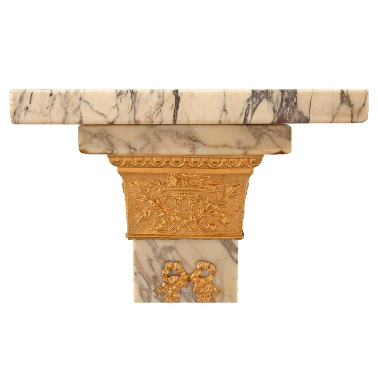 French 19th Century Neoclassical Style Marble and Ormolu Column For Sale 2
