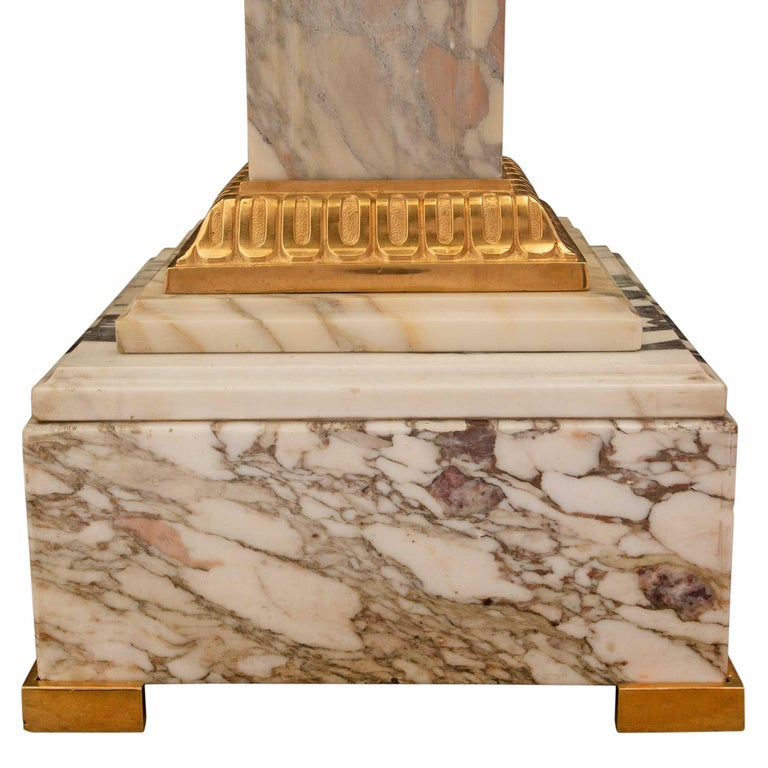 French 19th Century Neoclassical Style Marble and Ormolu Column For Sale 4