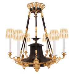 French 19th Century Neoclassical Style Patinated Bronze and Ormolu Chandelier