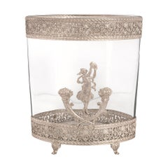French 19th Century Neoclassical Style Silvered Bronze and Glass Vase