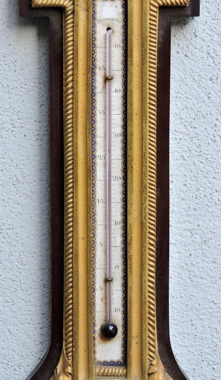 Louis XVI French 19th Century Ormolu Barometer and Thermometer by Henry Dasson