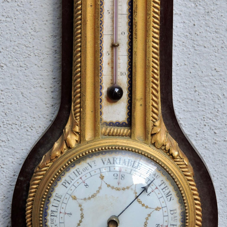 Enameled French 19th Century Ormolu Barometer and Thermometer by Henry Dasson