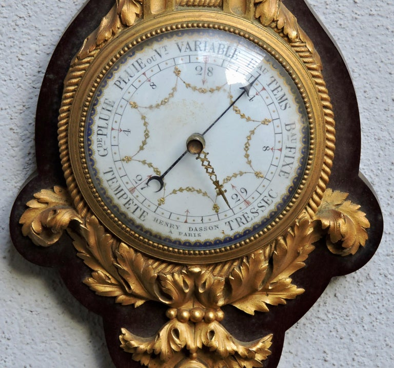 French 19th Century Ormolu Barometer and Thermometer by Henry Dasson In Good Condition In Saint-Ouen, FR