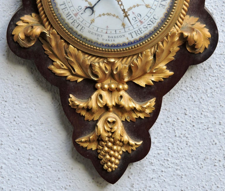 1890s French 19th Century Ormolu Barometer and Thermometer by Henry Dasson