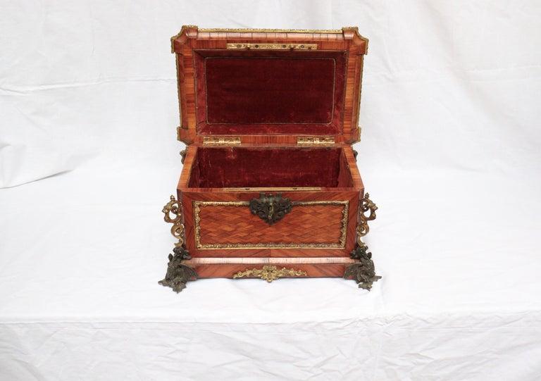 French 19th Century Pietra Dura Jewelry Casket by Alphonse Giroux, Paris For Sale 5
