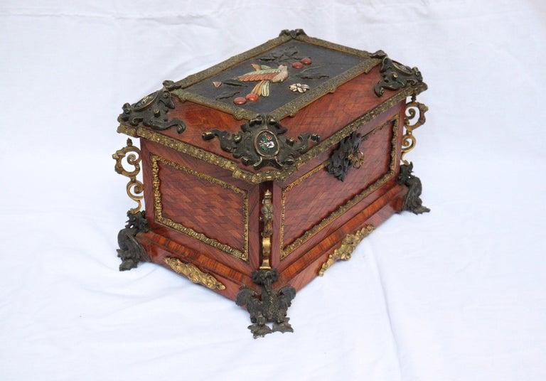 Gilt French 19th Century Pietra Dura Jewelry Casket by Alphonse Giroux, Paris For Sale