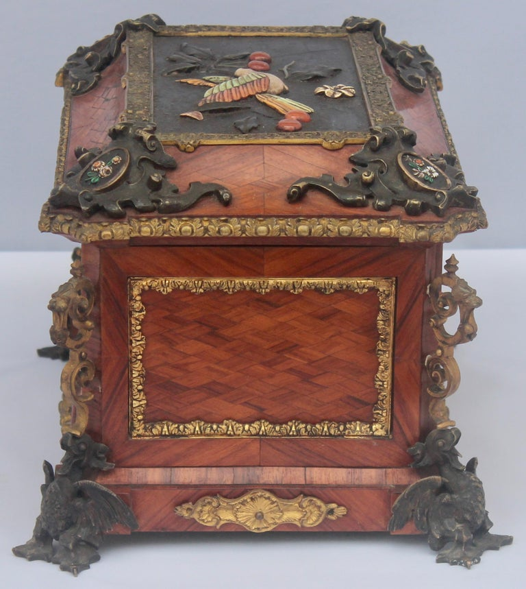 French 19th Century Pietra Dura Jewelry Casket by Alphonse Giroux, Paris In Good Condition For Sale In Saint-Ouen, FR