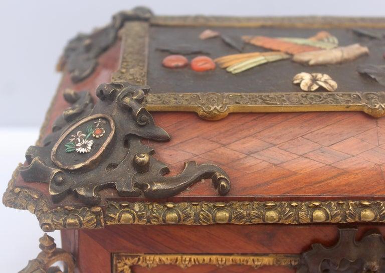 Mid-19th Century French 19th Century Pietra Dura Jewelry Casket by Alphonse Giroux, Paris For Sale