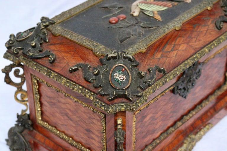 French 19th Century Pietra Dura Jewelry Casket by Alphonse Giroux, Paris For Sale 2
