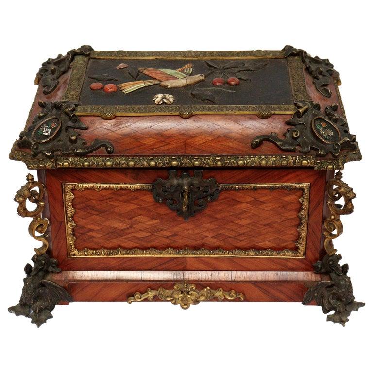 French 19th Century Pietra Dura Jewelry Casket by Alphonse Giroux, Paris For Sale