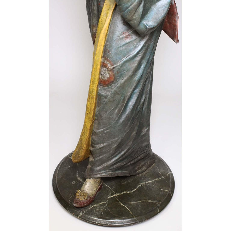 French 19th Century Polychromed Life-Size Figure of a Geisha, Charles Massé For Sale 4