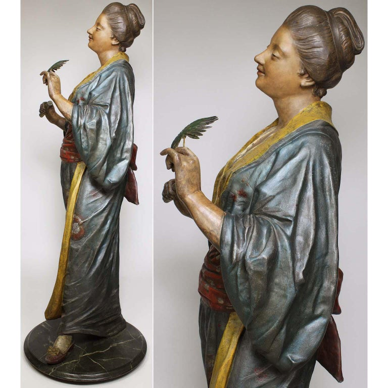 French 19th Century Polychromed Life-Size Figure of a Geisha, Charles Massé For Sale 5