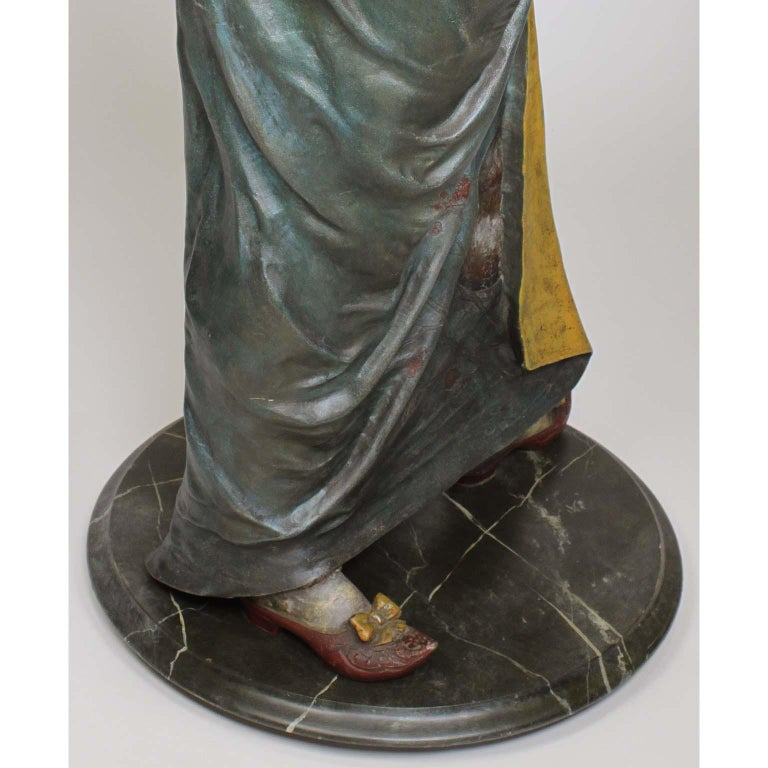 French 19th Century Polychromed Life-Size Figure of a Geisha, Charles Massé For Sale 10