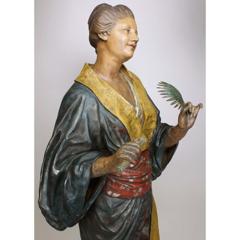 French 19th Century Polychromed Life-Size Figure of a Geisha, Charles Massé For Sale 11
