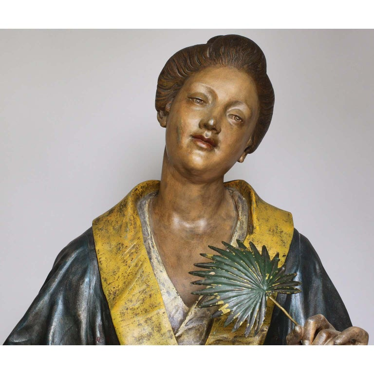 Japonisme French 19th Century Polychromed Life-Size Figure of a Geisha, Charles Massé For Sale