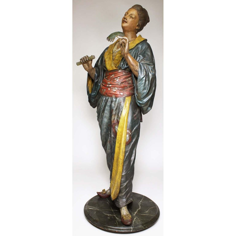 Metal French 19th Century Polychromed Life-Size Figure of a Geisha, Charles Massé For Sale