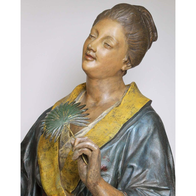 French 19th Century Polychromed Life-Size Figure of a Geisha, Charles Massé For Sale 3