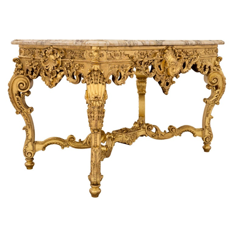 French 19th Century Regency style Giltwood and Escalette Marble Center Table In Excellent Condition For Sale In West Palm Beach, FL