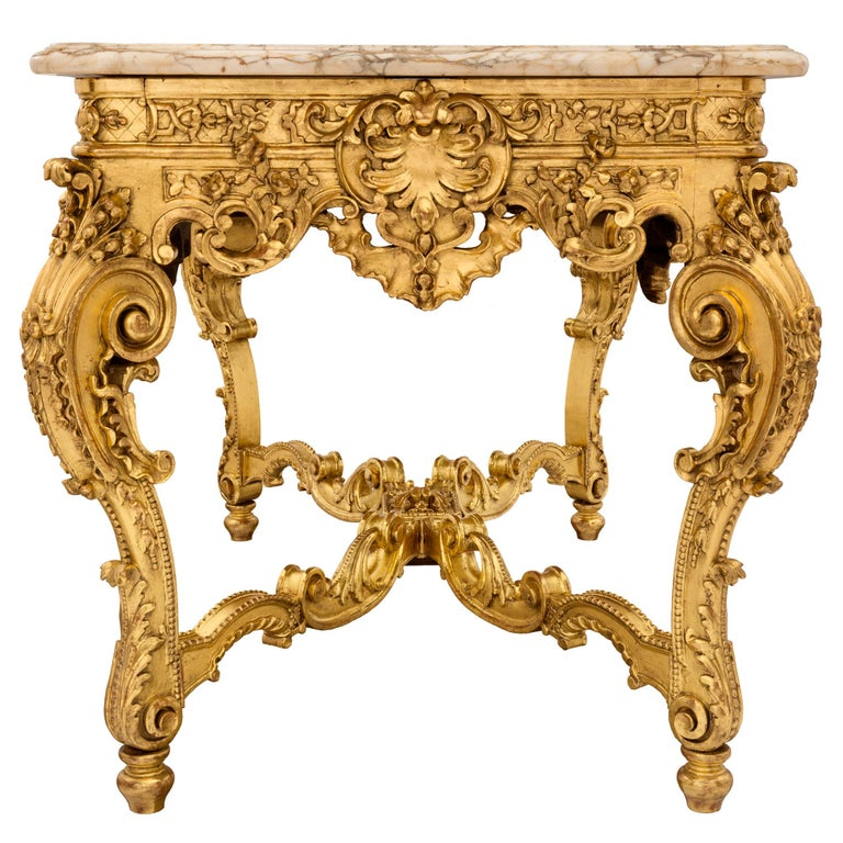 French 19th Century Regency style Giltwood and Escalette Marble Center Table For Sale 1