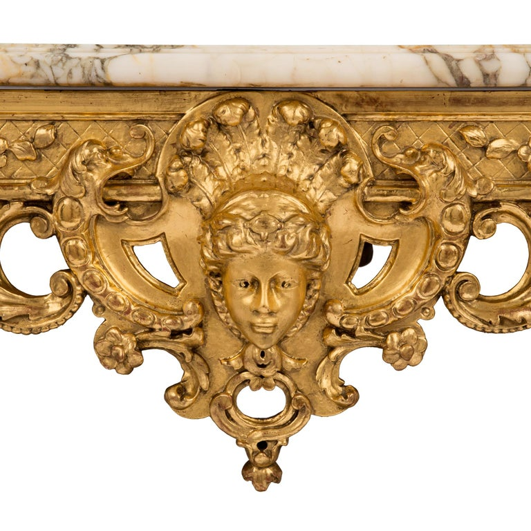 French 19th Century Regency style Giltwood and Escalette Marble Center Table For Sale 2