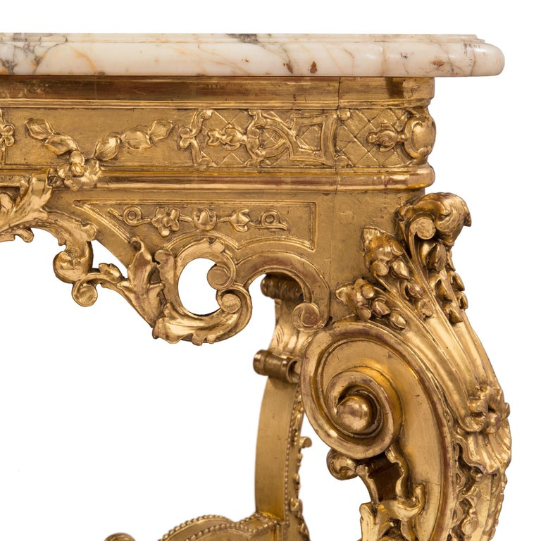 French 19th Century Regency style Giltwood and Escalette Marble Center Table For Sale 3