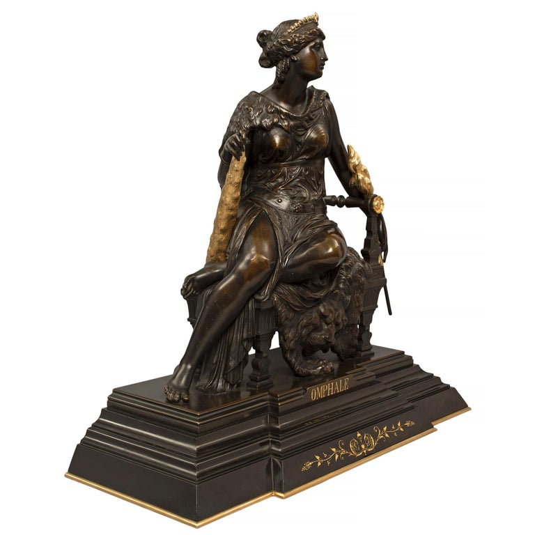 A handsome and high quality French mid-19th century Renaissance st. patinated bronze, ormolu and Black Belgium marble statue of Omphale. The richly chased and detailed statue is raised upon a rectangular mottled marble base with a protruding front