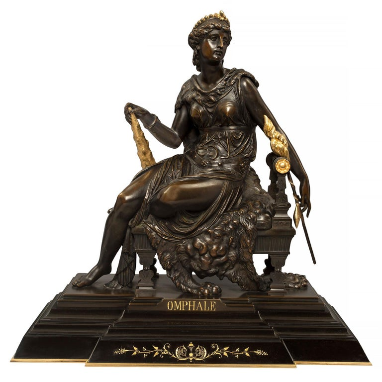 French 19th Century Renaissance St. Bronze and Ormolu Statue of Omphale For Sale