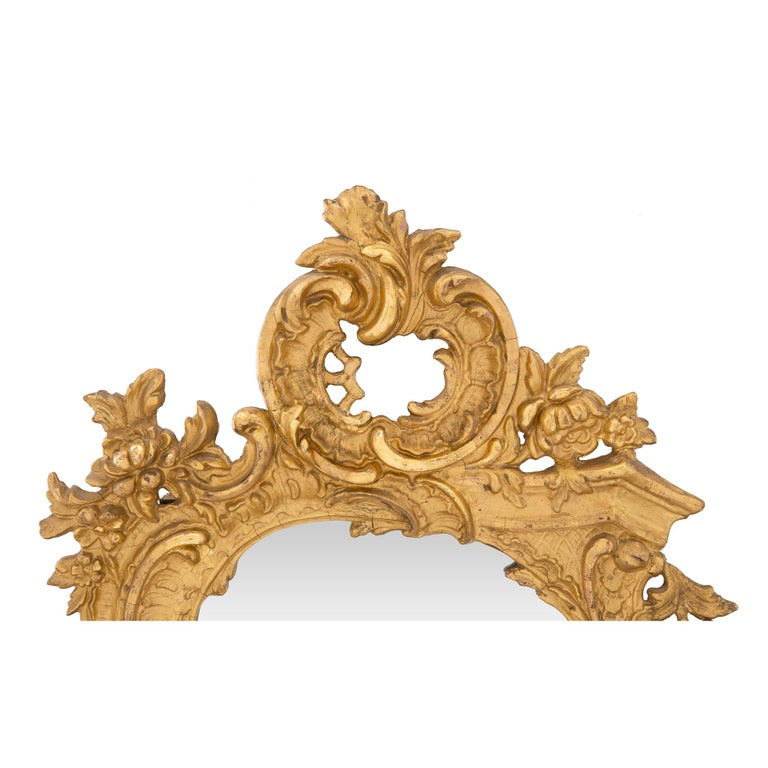 A French 19th century Rococo st. giltwood mirror In Excellent Condition For Sale In West Palm Beach, FL
