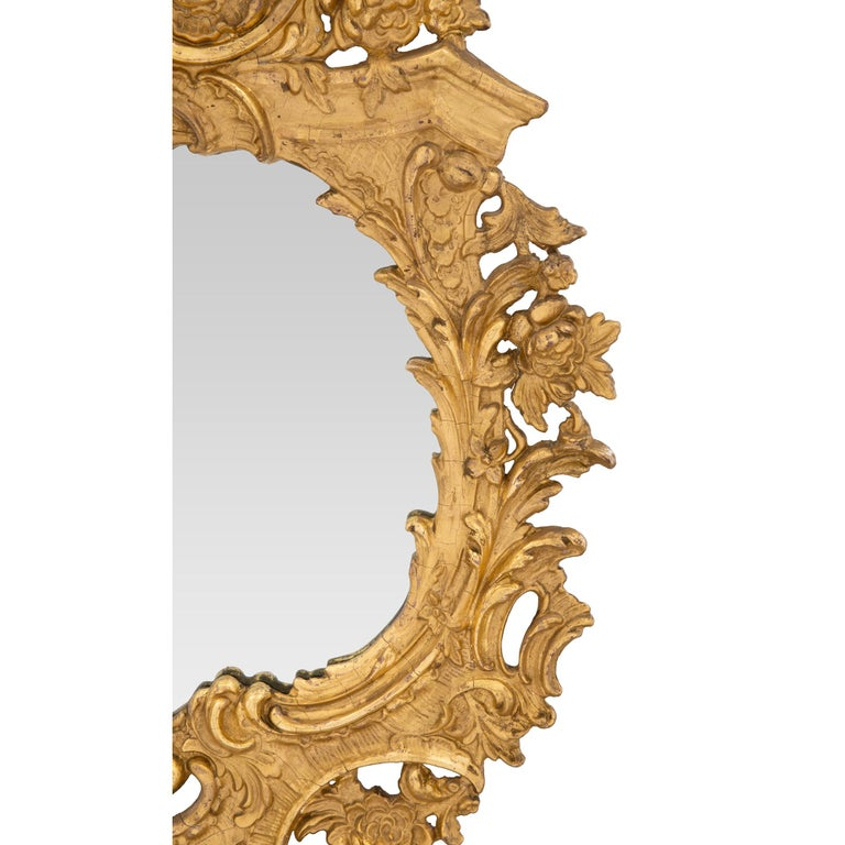 Mirror A French 19th century Rococo st. giltwood mirror For Sale