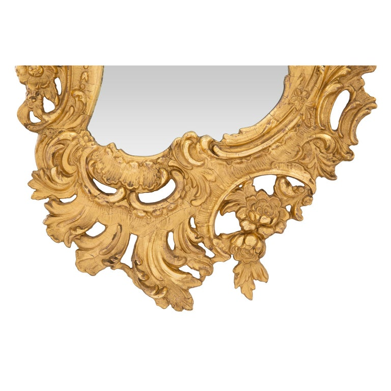 A French 19th century Rococo st. giltwood mirror For Sale 1