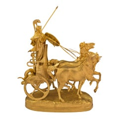 French 19th Century Statue of Chariot of Minerva Signed Fremiet & Barbedienne