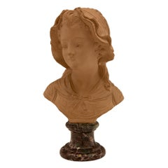 French 19th Century Terra Cotta and Rosso Levanto Marble Bust