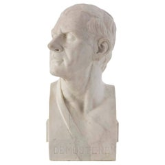 French 19th Century White Carrara Marble Bust of Demostene