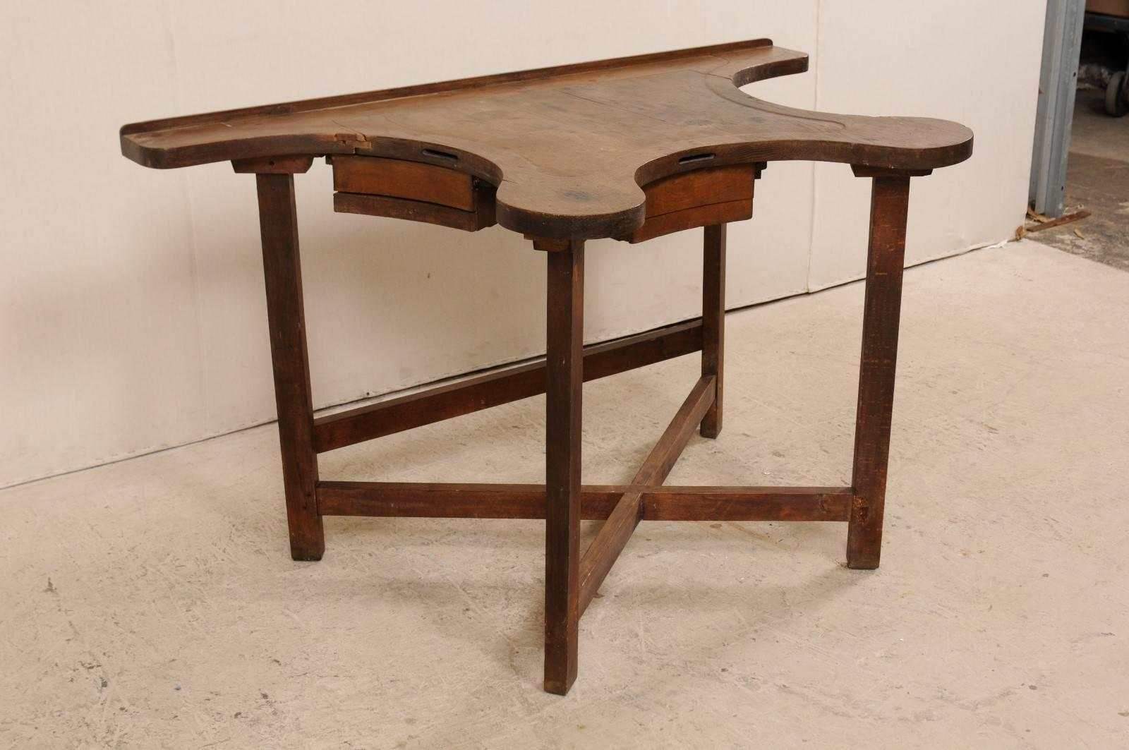 French 19th Century Work Bench Jeweleru0027s Table With Three Small Double  Drawers