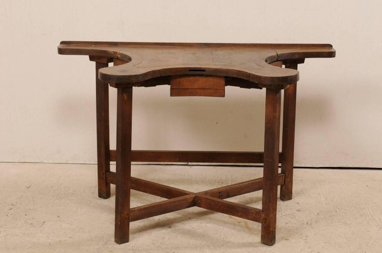 Carved French 19th Century Jeweler's Work Bench Table with Beautiful & Shapely Top  For Sale