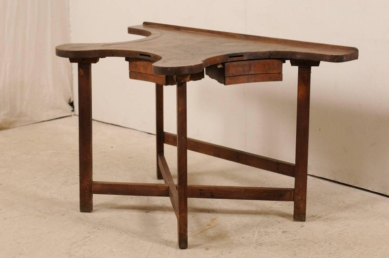 French 19th Century Jeweler's Work Bench Table with Beautiful & Shapely Top  In Good Condition For Sale In Atlanta, GA