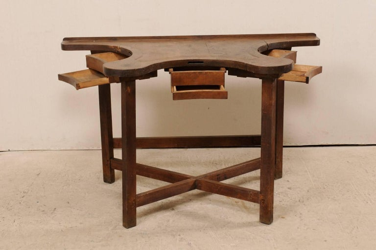 Wood French 19th Century Jeweler's Work Bench Table with Beautiful & Shapely Top  For Sale