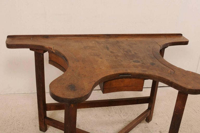 French 19th Century Jeweler's Work Bench Table with Beautiful & Shapely Top  For Sale 1
