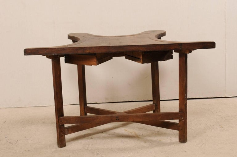 French 19th Century Jeweler's Work Bench Table with Beautiful & Shapely Top  For Sale 2