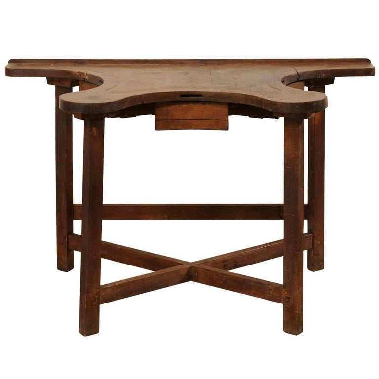 French 19th Century Jeweler's Work Bench Table with Beautiful & Shapely Top  For Sale