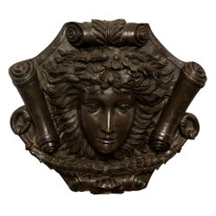 French 19th Louis XVI St. Patinated Bronze Decorative Wall Plaque