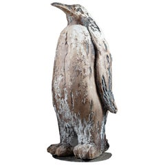 French 20th Century Plaster Sculpture of an Emperor Penguin with Paint Residue