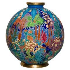 "A French Art Deco ""Boule de Coloniale"" Ceramic Vase by, Longwy"