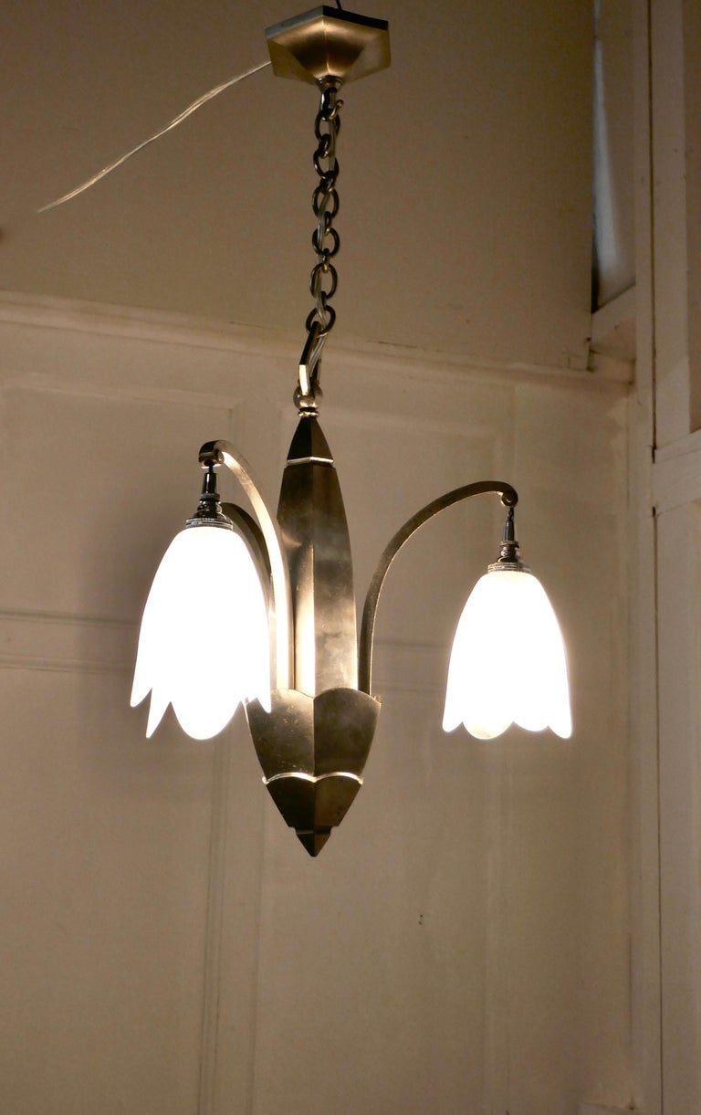 French Art Deco Chrome Chandelier For Sale 3