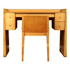 French Art Deco Sycamore Dressing Table and Chair