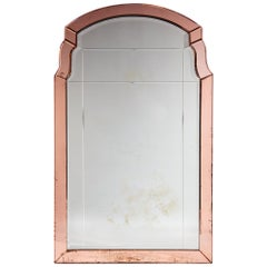 French Art Deco Wall Mirror with Cut-Glass Peach Borders