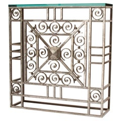 French Art Deco Wrought Iron and Glass Console
