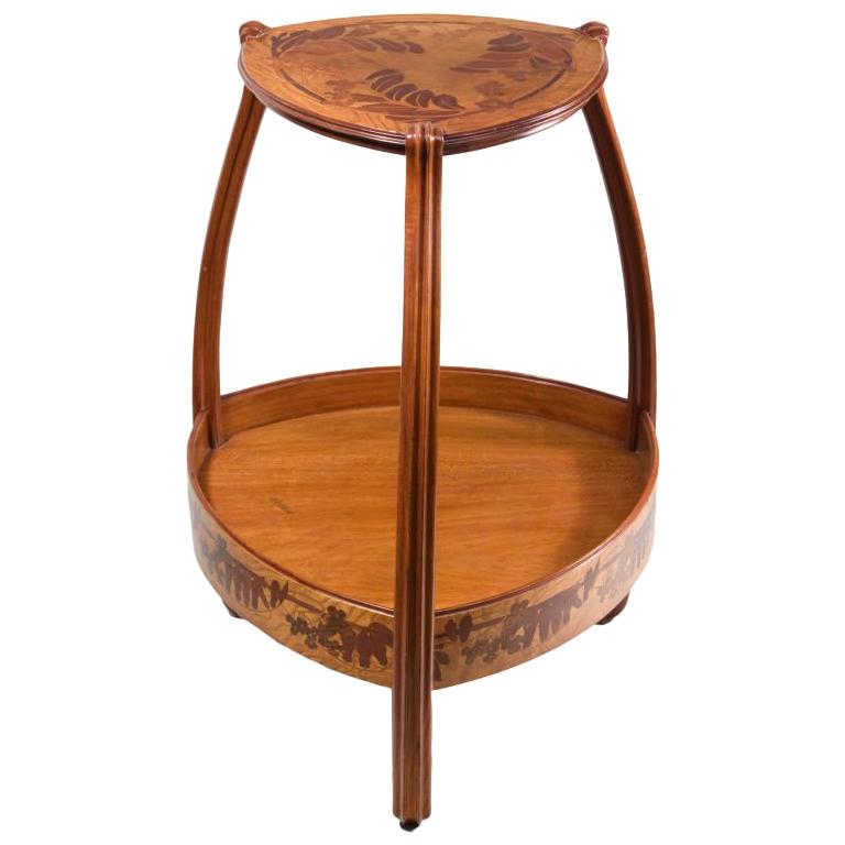A French Art Nouveau Carved & Inlaid Marquetry Side Table by, Louis Majorelle