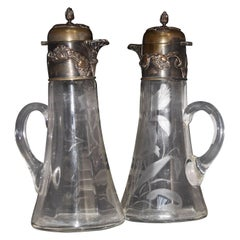 French Art Nouveau Pair of Pitchers, circa 1900
