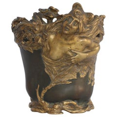 French Art Nouveau Symbolist Nymph Flower Bronze Vase, circa 1900